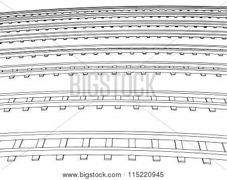 Curved endless Train track. Vector