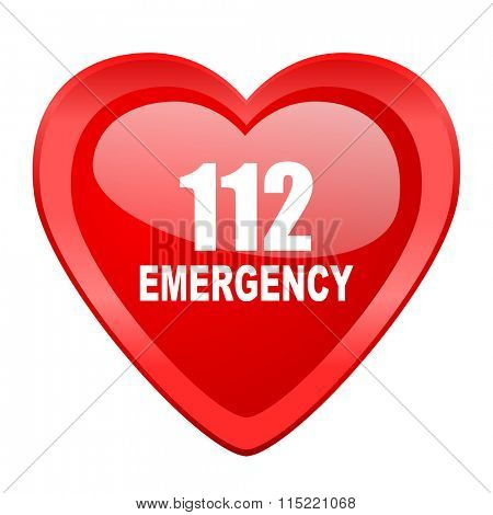 number emergency 112 red heart valentine glossy web icon