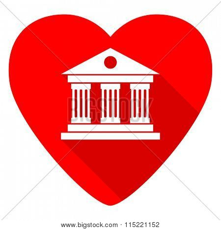 museum red heart valentine flat icon