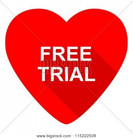 free trial red heart valentine flat icon