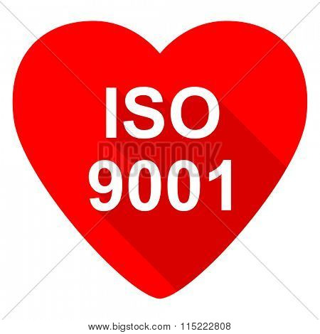 iso 9001 red heart valentine flat icon