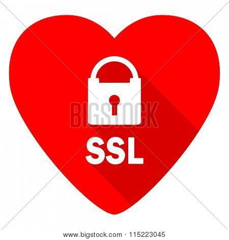 ssl red heart valentine flat icon