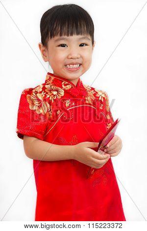 Chinese Little Girl Holding Red Envelope
