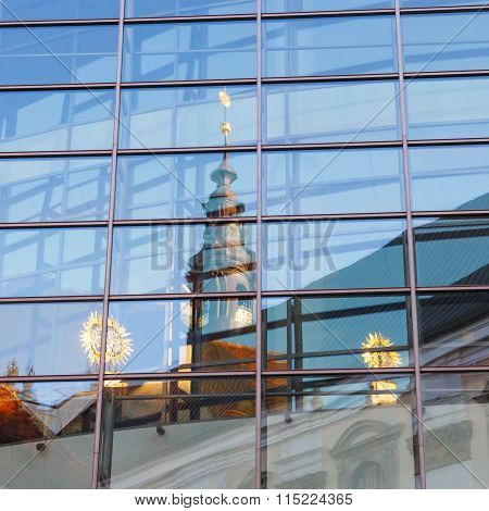 View Of Church In Wroclaw,  Reflection In The Window