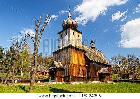 Old Log Church In An Open-air Ethnography Museum In Wygielzow, Poland