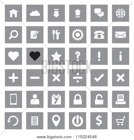 Web icon set on gray rectangle
