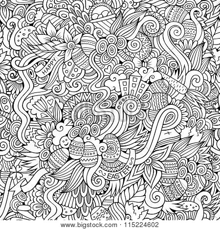 Easter doodles vector seamless pattern