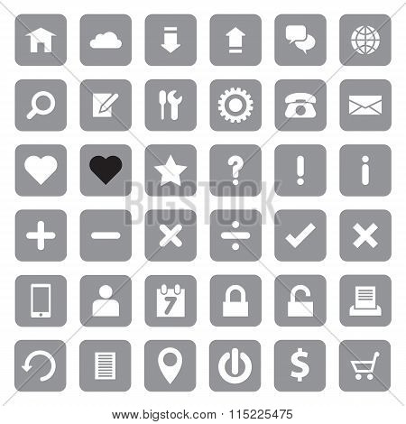 Web icon set on gray rounded rectangle
