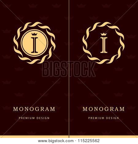 Monogram Design Elements, Graceful Template. Letter Emblem Sign I. Calligraphic Elegant Line Art Log