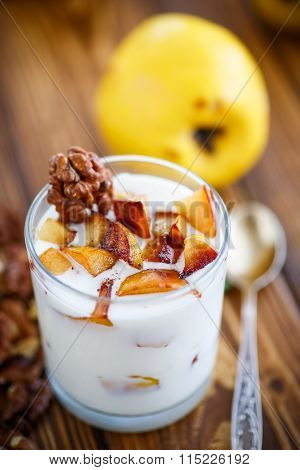 sweet yogurt with baked quince