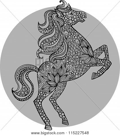 Hand drawn vector doodle horse illustration