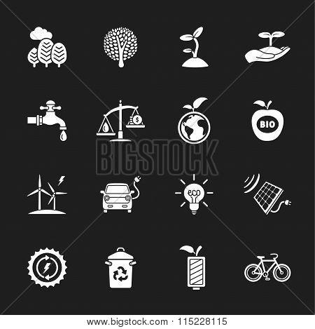 sixteen flat eco icons