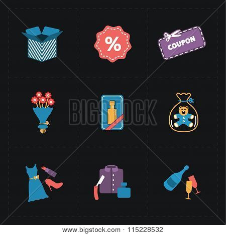 Gift flat colorful shop icons on black
