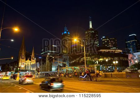 Melbourne traffic at night