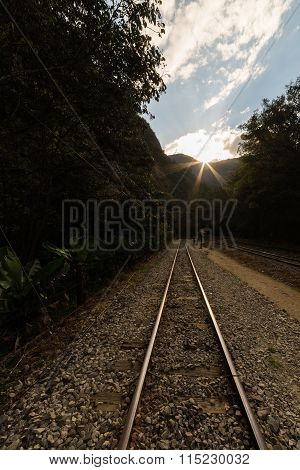 Railway Track To Machu Picchu Village, Peru