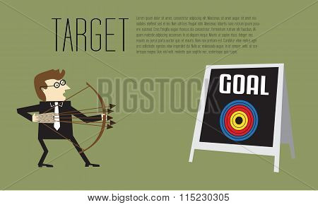 Businessman As An Archer Is Aiming At Center Of Target On Goal Board