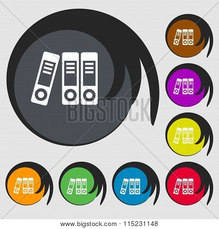 Binders  Icon. Symbols On Eight Colored Buttons.