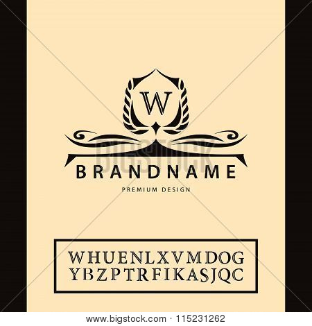 Luxury Vintage Logo. Business Sign, Label, Letter Emblem W For Badge, Crest, Restaurant, Royalty, Bo