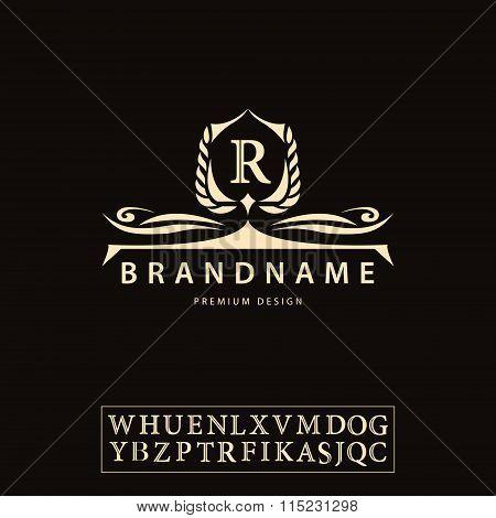 Luxury Vintage Logo. Business Sign, Label, Letter Emblem R For Badge, Crest, Restaurant, Royalty, Bo
