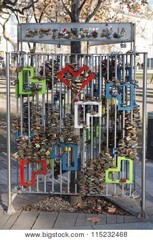 Love Padlock In Budapest