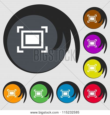 Crops And Registration Marks Icon. Symbols On Eight Colored Buttons.