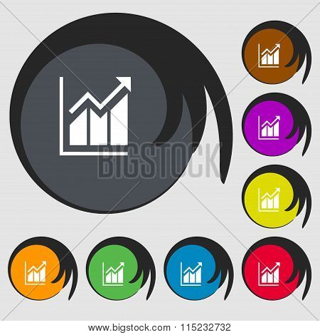Growing Bar Chart Icon. Symbols On Eight Colored Buttons.