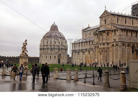 View Of Leaning Tower Of Pisa, Baptistery And The Cathedral In Pisa, Italy.
