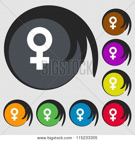 Female Icon. Symbols On Eight Colored Buttons.
