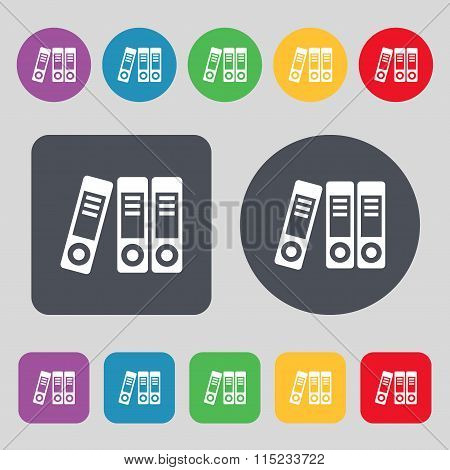 Binders  Icon Sign. A Set Of 12 Colored Buttons. Flat Design.
