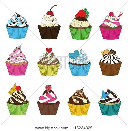 Set of cupcakes in sketch style