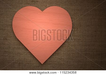 Red Heart On Burlap Fabric