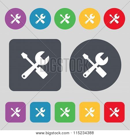 Wrench And Screwdriver Icon Sign. A Set Of 12 Colored Buttons. Flat Design.