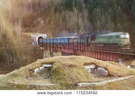 Old Diesel Passenger Train In Tunnel