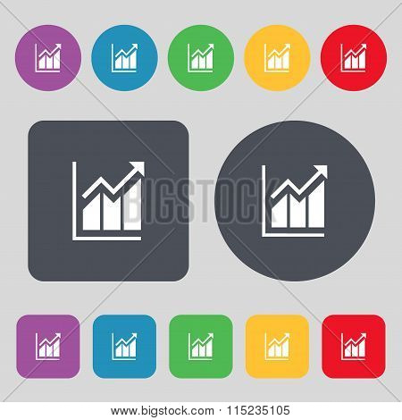 Growing Bar Chart Icon Sign. A Set Of 12 Colored Buttons. Flat Design.