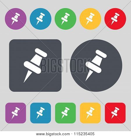 Push Pin Icon Sign. A Set Of 12 Colored Buttons. Flat Design.