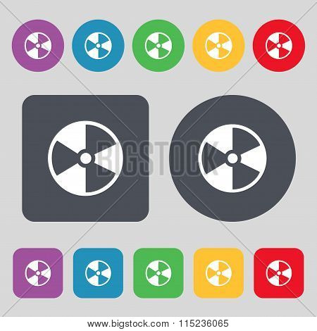 Radioactive Icon Sign. A Set Of 12 Colored Buttons.
