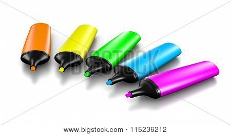 Colorful Highlighter Set On White