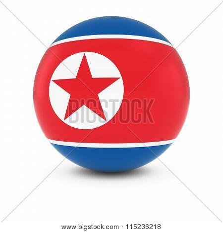 North Korean Flag Ball - Flag Of North Korea On Isolated Sphere