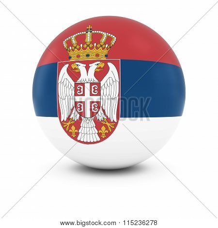 Serbian Flag Ball - Flag Of Serbia On Isolated Sphere