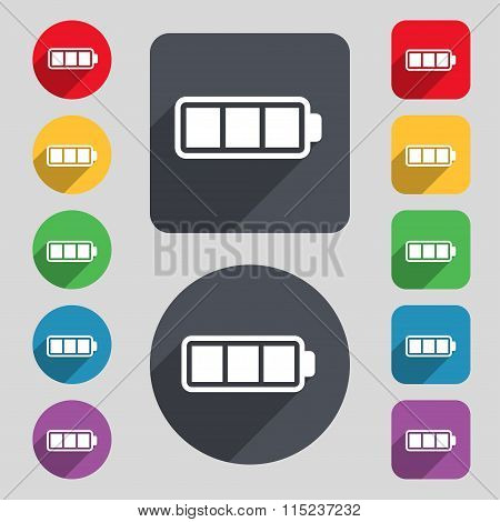 Battery Fully Charged Icon Sign. A Set Of 12 Colored Buttons And A Long Shadow.
