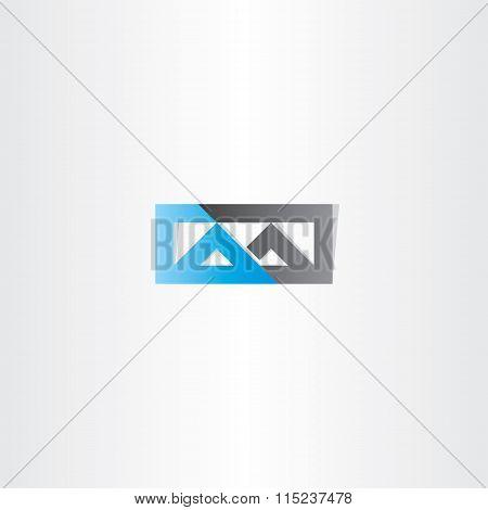 Logo M Letter M Blue Black Icon Vector