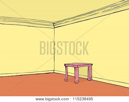 Empty Room With Pink Table