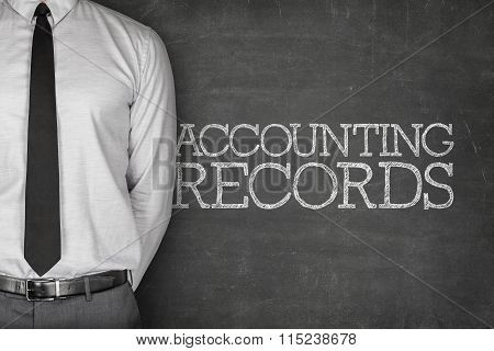 Accounting records text on blackboard
