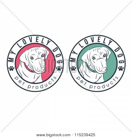 Set Of  Illustration Label Of Retriever Dog