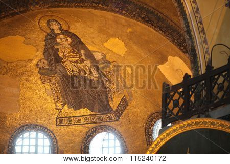 ISTANBUL,TURKEY - AUGUST 15, 2012: Tourists visit Hagia Sophia on August 15, 2012 in Istanbul, Turkey. Hagia Sophia is a former Orthodox patriarchal basilica, later a mosque and now a museum.