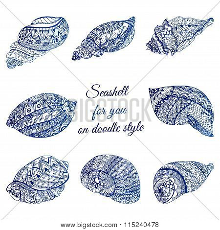 Set Of Hand Drawn Seashell With Ethnic Motif. Abstract Zentangle Stylized Cockleshells. Ocean Life D