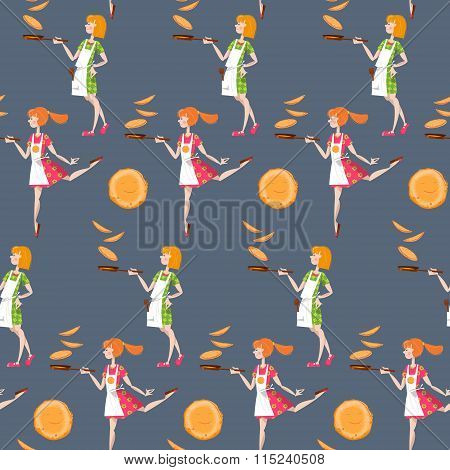 Girls Tosses Pancakes On A Frying Pan. Happy Pancake Day! Seamless Background Pattern.