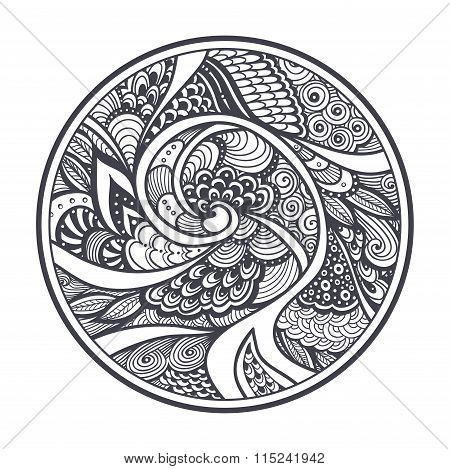 Abstract pattern in Zen-tangle  Zen-doodle style black on white in circle