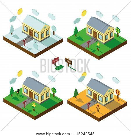 Isometric house set.3D Village.Landscape in seasons