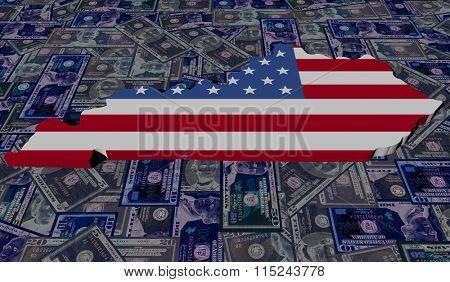 Kentucky map flag on dollars illustration